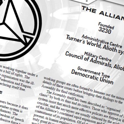 Square image showing part of Alliance symbol and some text from a page of the background section