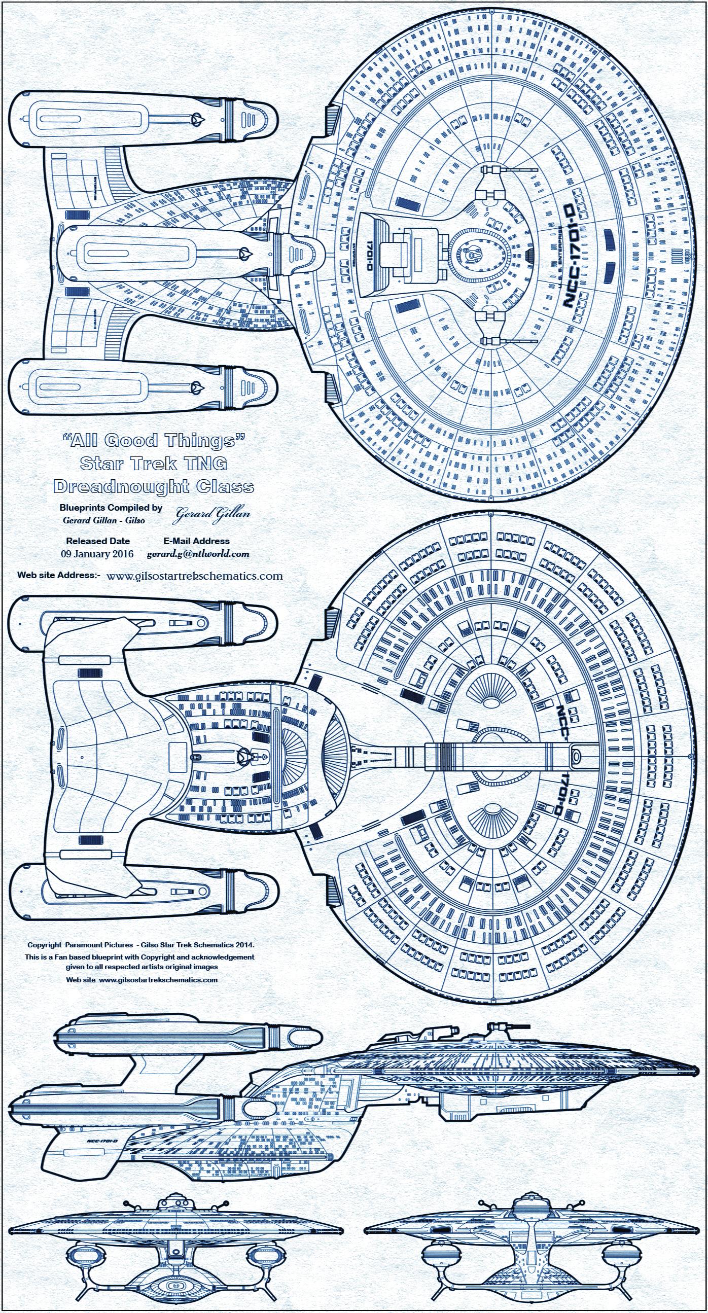 STAR TREK Blueprint Quick Reference Gallery List Enterprise D Schematics on