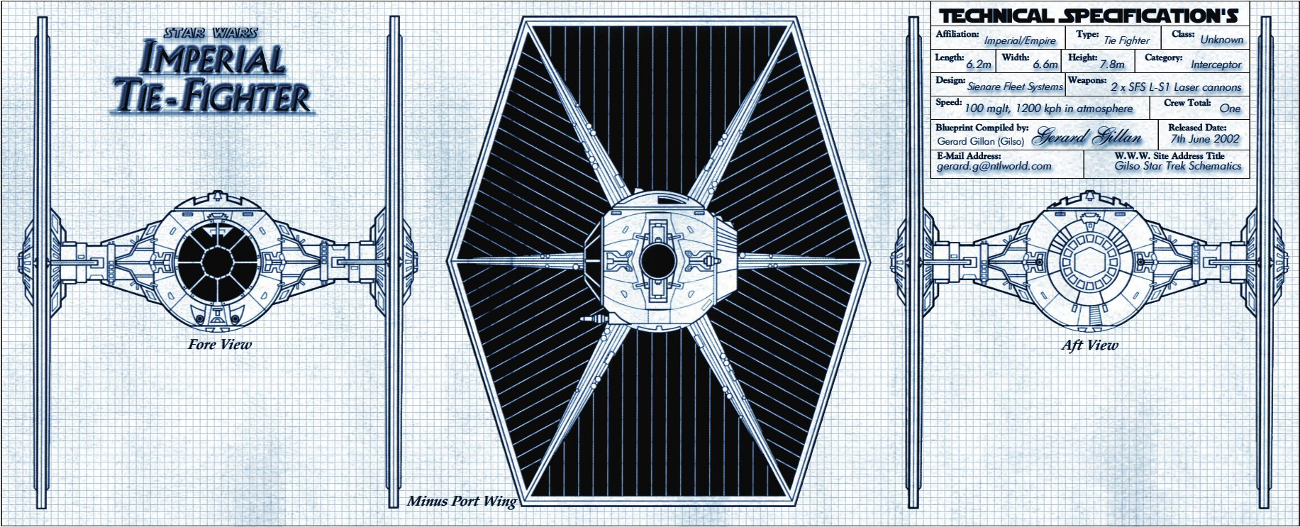 Blueprints of Ships and Vessels from the Star Wars Franchise (Page on tie advanced, tie phantom, y-wing schematic,