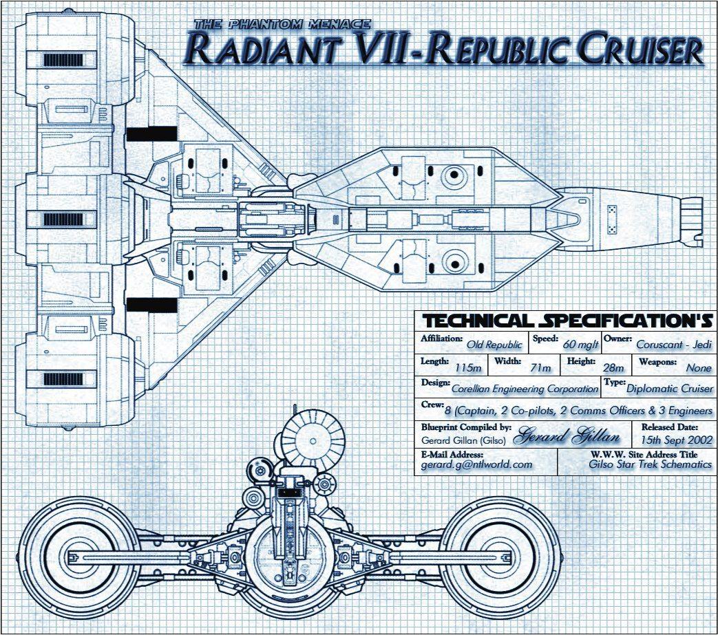 Page 8 Star Trek Engineering Schematics Radiant Vii Republic Cruiser Blueprint